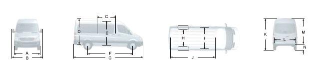 Габаритные размеры Мерседес Спринтер 518CDI, вариант - грузовой фургон