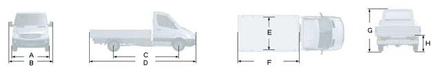 Габаритные размеры Мерседес Спринтер 518 CDI, вариант - бортовой грузовик с обычной кабиной