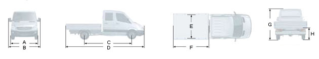 Габаритные размеры Мерседес Спринтер 213CDI, вариант - бортовой грузовик с двойной кабиной