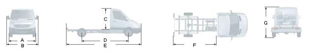 Габаритные размеры Мерседес Спринтер 213CDI, вариант - Шасси с одинарной кабиной