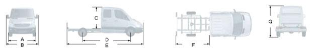 Габаритные размеры Мерседес Спринтер 213 CDI, вариант - шасси с двойной кабиной